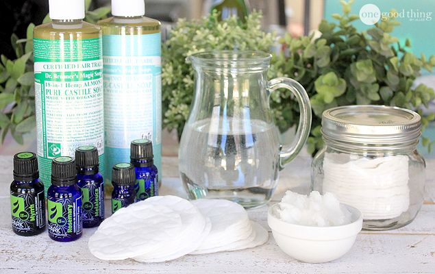 DIY Makeup Remover (water, coconut oil, castile soap and essential oils).