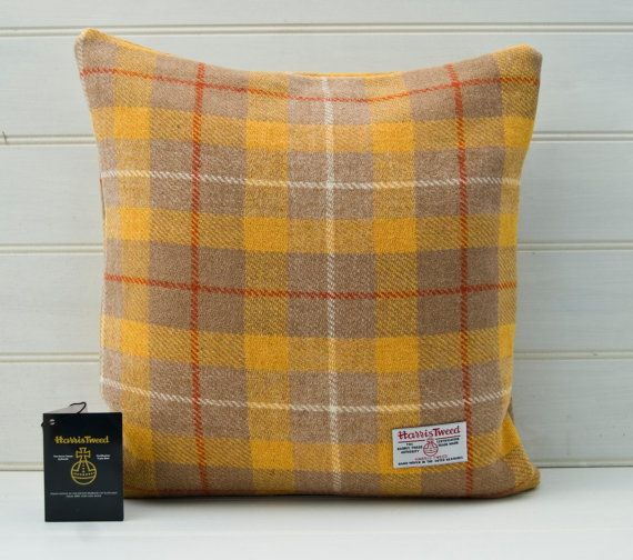 Yellow Cushion Cover Harris Tweed Tartan Plaid by GreenCallow, £35.00