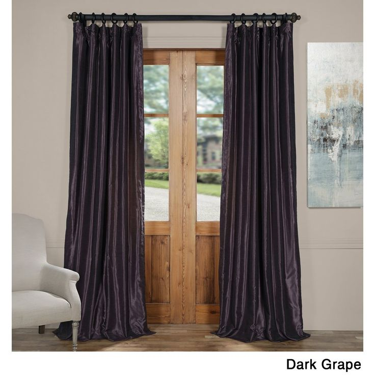 Exclusive Fabrics Vintage Textured Faux Dupioni Silk Curtain Panel (50 X 84 – warm stone), Brown(Faux Silk, Solid)