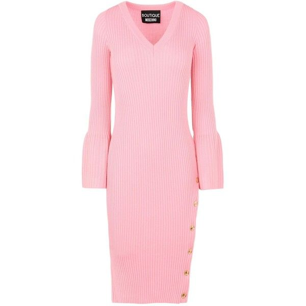 Boutique Moschino 3/4 Length Dress ($480) ❤ liked on Polyvore featuring dresses, pink, long sleeve dress, boutique moschino, rib knit dress, lightweight dresses and pink v neck dress