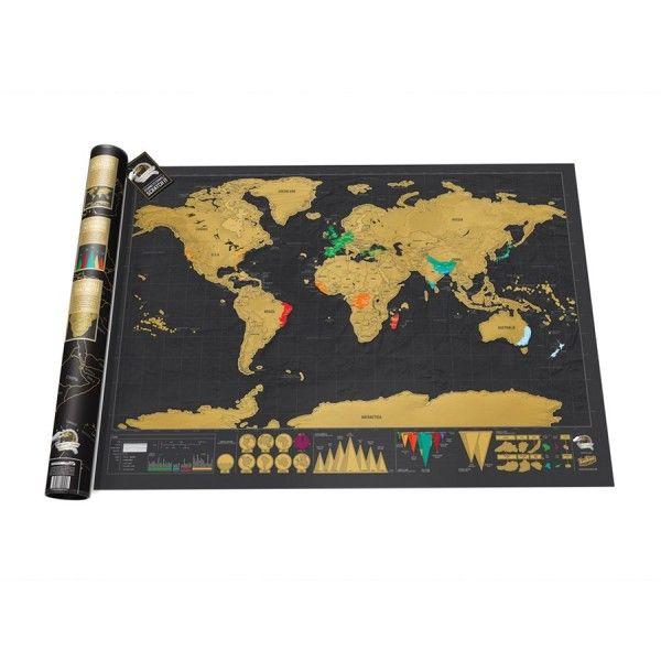 Carte du monde à gratter Deluxe : la carte des voyageurs stylé et insolite