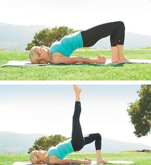 Bridge pose with leg lift. Strengthens glutes, thighs; stretches shoulders, chest.