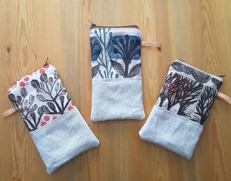wee block-printed pouchs