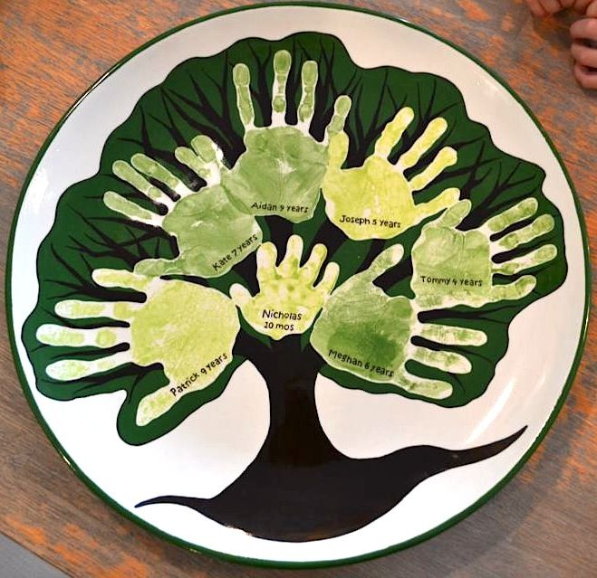 Family Tree Handprint Plate | Paint Your Own Pottery | Paint Your Pot | Cary & 64 best Handprint Pottery Ideas images on Pinterest | Creative Palm ...