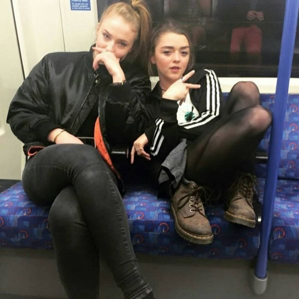 On the subway with Sophie. I love that they're besties irl