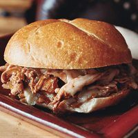 My favorite pulled chicken recipe.  So easy.  The reduction takes longer than it says.