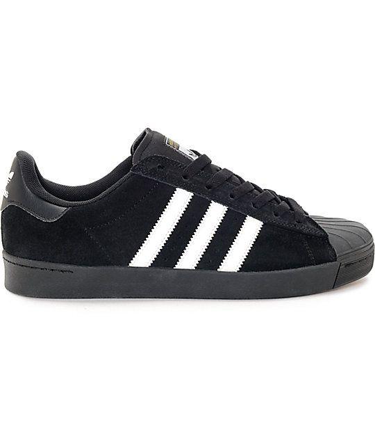 adidas Superstar Vulc ADV Black Suede & White Shoes