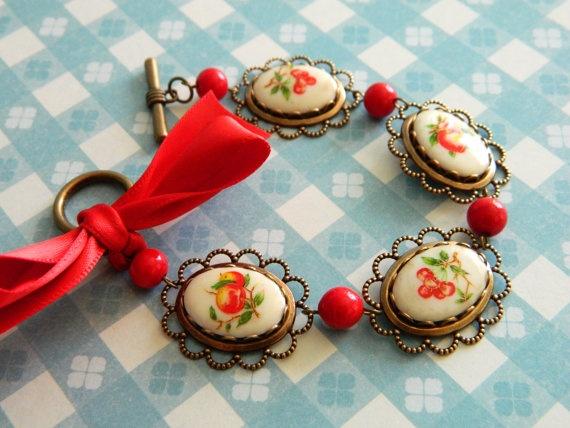 Bracelet Vintage Retro Cherry Peach Apple Red by ChromeAndCotton, $30.00