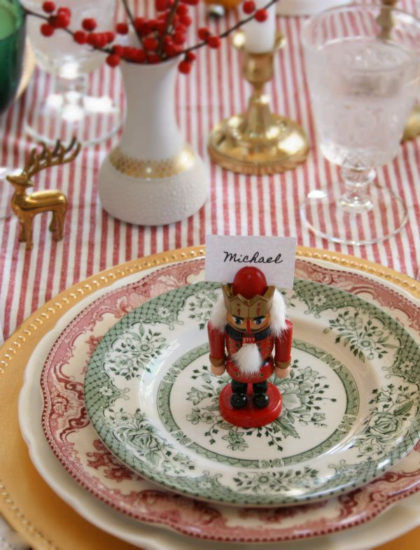 Beautiful Table For A Party With A Ddition Of A Little Nutcracker        Christmas
