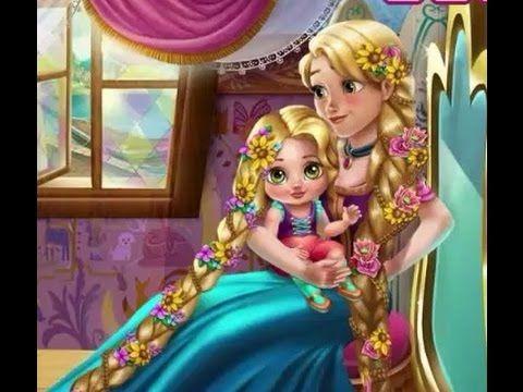 Juegos de Princesas: El día de Rapunzel, vestir, peinar, moda, cuidar bebe