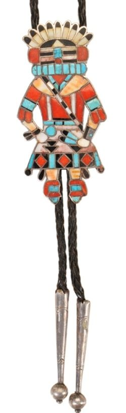 Jewelry; Zuni, Vacit (Frank), Bolo Tie, Spiritual Figure in Silver, Turquoise, Jet, MOP, Coral, 4 inch.