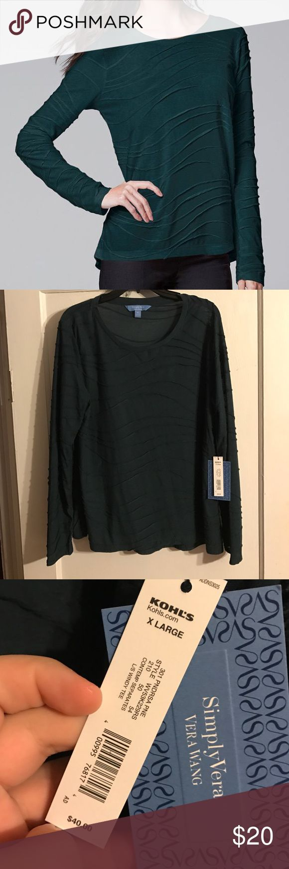 Simply Vera Vera Wang Windy Jacquard Tee NWT size XL. Simply Vera Vera Wang Windy Jacquard Tee in green. I would say it's a little thin. Very pretty for work! Let me know if you have any questions 🙂 Simply Vera Vera Wang Tops