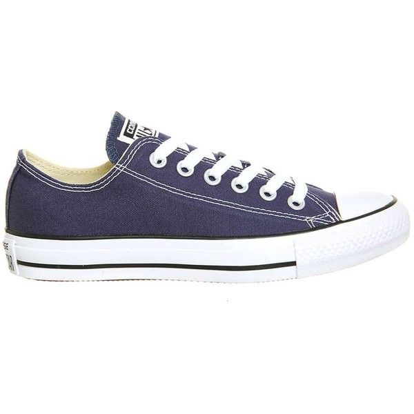 Converse supplied by Office Converse All Star Low Leather Trainers ($58) ❤ liked on Polyvore featuring shoes, sneakers, blue, lace up sneakers, converse shoes, blue leather shoes, low sneakers and leather lace up sneakers