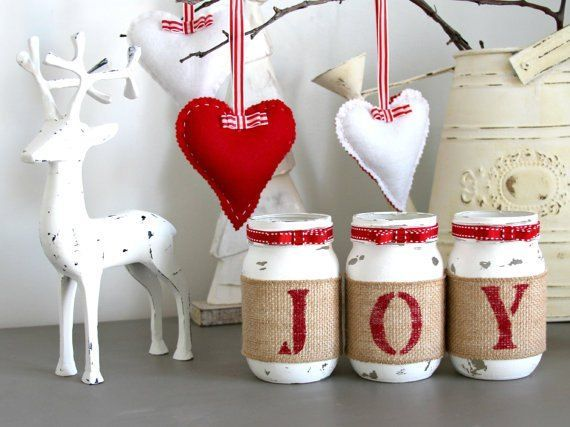 Cute idea to customize mason jars for christmas....chalk paint is used