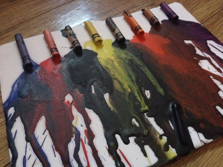 Melted crayon art is always a good idea!