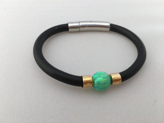 Emerald Green Opal Bracelet with 9K Yellow Gold and Neoprene Band and Stainless Steel Clasp