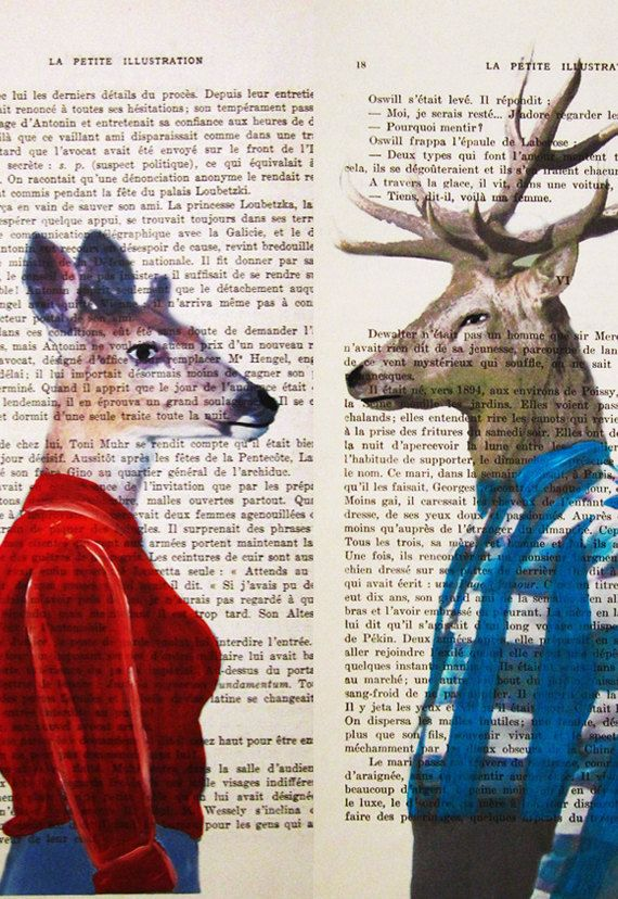 Mr & Mrs Deer Mixed Media  Digital Illustration by Cocodeparis, $24.00