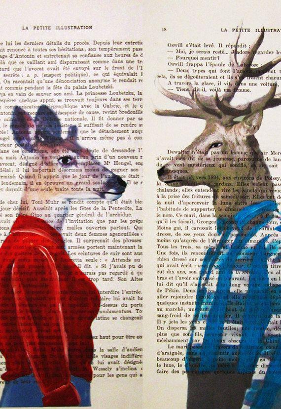Mr & Mrs Deer Mixed Media  Digital Illustration by Cocodeparis, $24.00