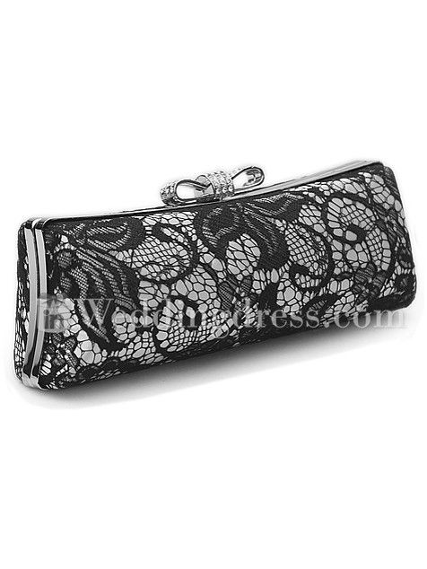 A really pretty and feminine clutch bag for wedding. This long hard shell clutch bag is covered in quality lace and decorated with exquisite bow tie closure.