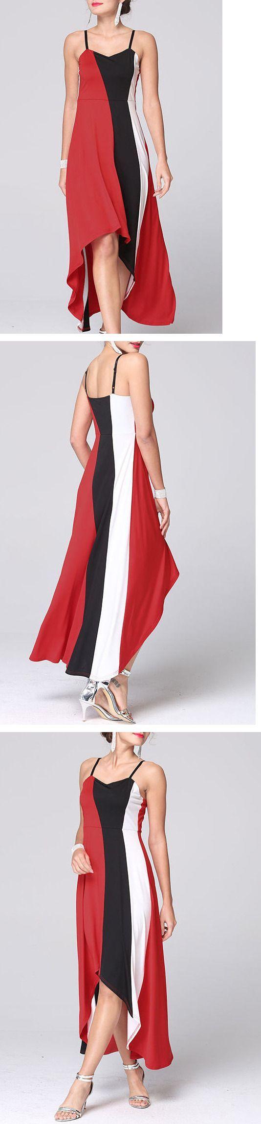 Red Color Block Asymmetrical Midi Dress