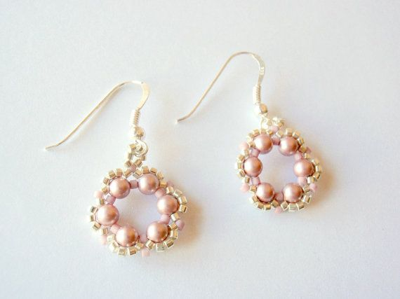 Spring Flower Earrings Pink Swarovski Earrings by acbeadsjewellery