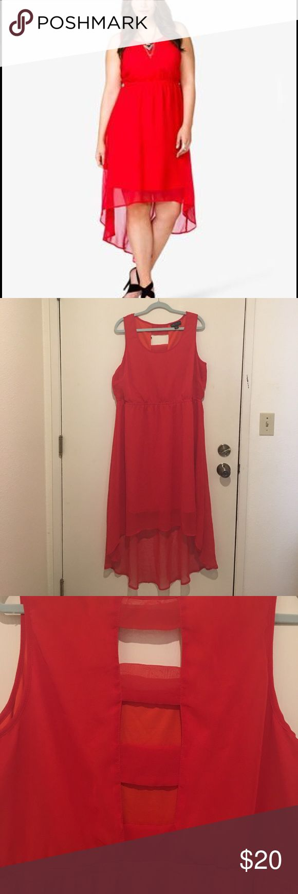 Forever 21 plus size Red High-low dress Forever 21 Plus Size Red High-low dress. Back cutouts.                           Worn once, no rips or stains. Forever 21 Dresses High Low