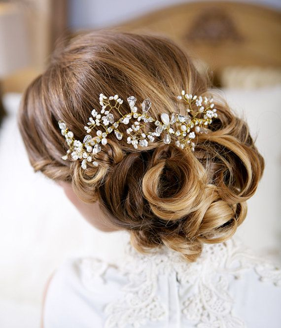 Pearl Bridal Hair Comb, Crystal and Pearl Headpiece, Crystal Floral Branch Accessory, Bridal Hair Vine, STYLE 101 - Silver or Gold on Etsy, $170.00