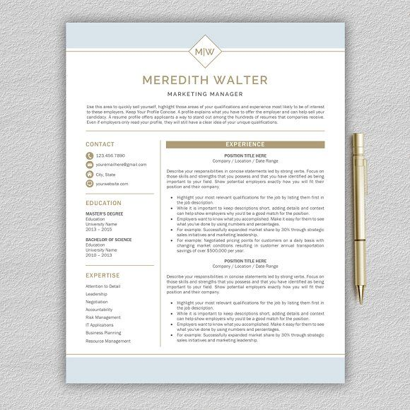 Resume Template | CV by Pro.Graphic.Design on @creativemarket