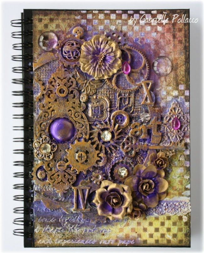 Mixed Media Art Journal Cover Tutorial by Gabrielle Pollacco using Dusty Attic Design Chipboard and a variety of mixed media products (Silks, H2O's, texture paste)