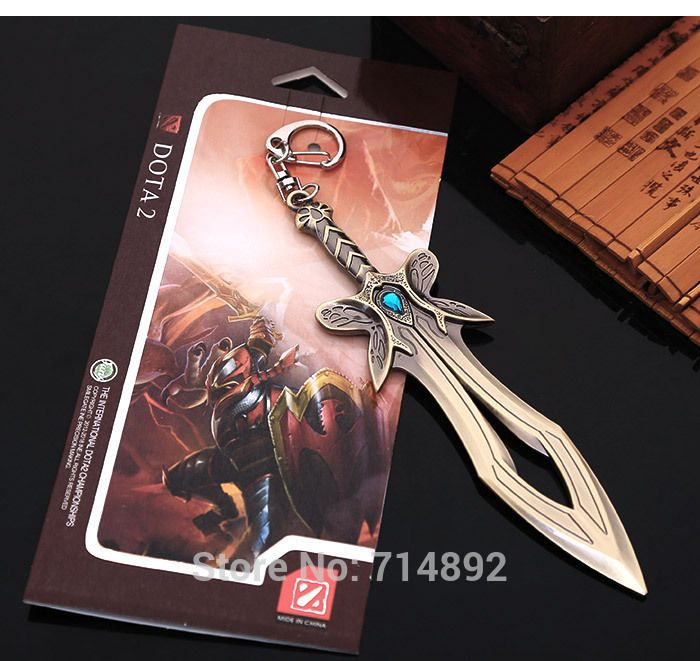 20 pcs/lot DOTA 2 heroes items cosplay Butterfly Sword keychains & pendants 15cm free shipping