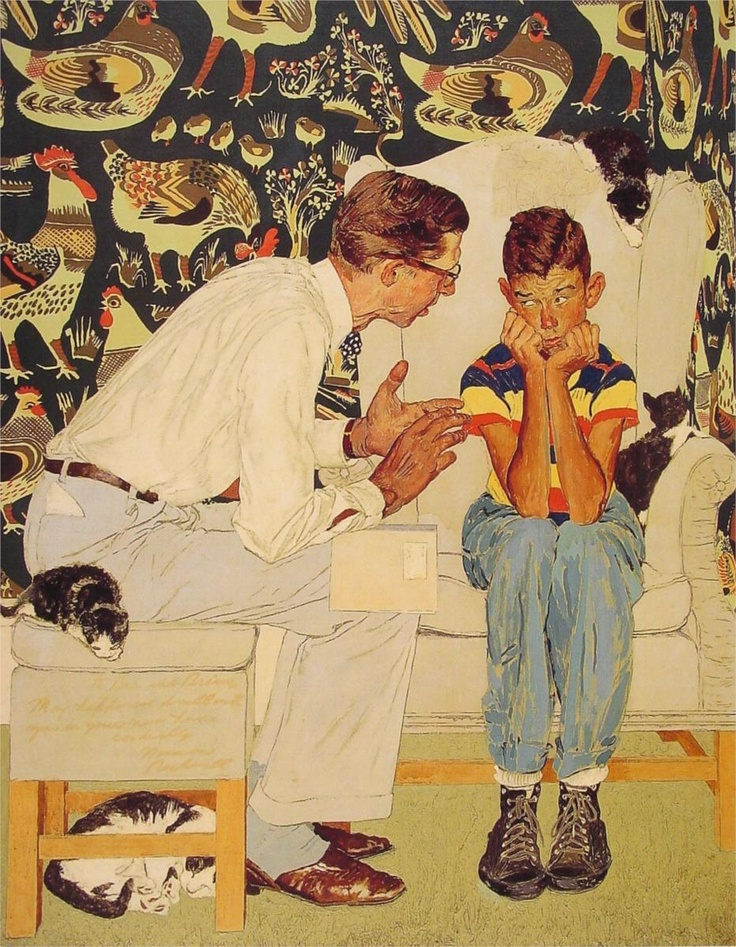 """Norman Rockwell """"The Facts of Life"""" (1951): Rockwell Art, Oil Paintings, Artistnorman Rockwell, Norman Rockwell Paintings, Artnorman Rockwell, Artists Norman, Art Norman Rockwell, Facts Of Life, Normanrockwel"""