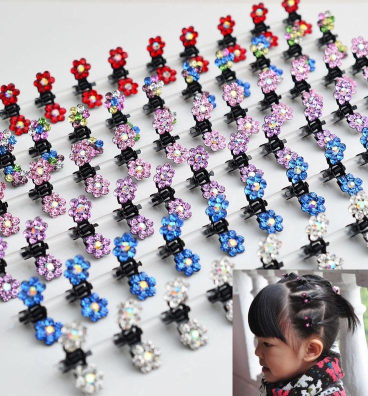 2 pcs Mini Korean girl child girl hair ornaments crystal flower Girl Sweet Hairpin Baby Hair clip Children Headwear Kids Gripper