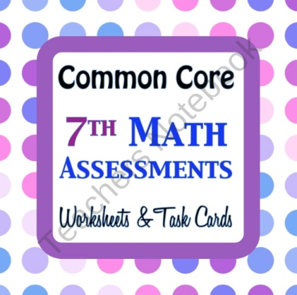 $$ 10.00  Common Core Math 7th Assessments - Warm Ups - Task Cards - Seventh Grade from Math to the Core on TeachersNotebook.com (89 pages)  - Common Core Math 7th Assessments - Warm Ups - Task Cards - Seventh Grade BundleYour Choice!!! Formal Assessment, Worksheets, Task Cards  Questions are aligned precisely to the c