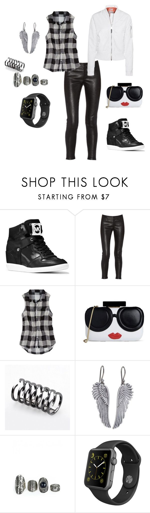 Porque hoje é sexta-feira. by simone-silva-s2 on Polyvore featuring moda, American Eagle Outfitters, Schott NYC, MICHAEL Michael Kors, Alice + Olivia, Apple, Lucky Brand and Federica Tosi
