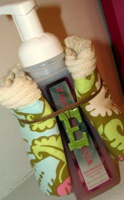 kitchen soap gift idea... I would also add the silver holder that B & B has for there soaps/candle holders!!! ;)