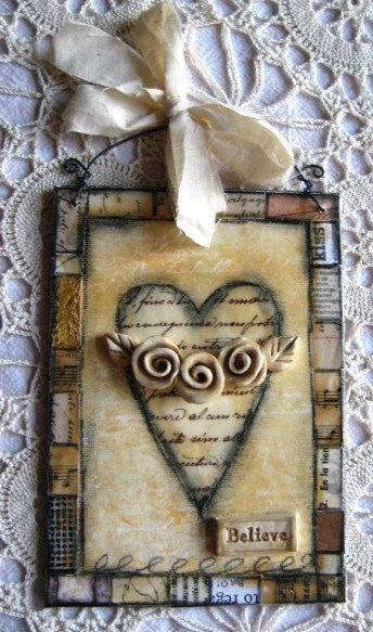Vintage Roses Mixed Media Art by CrimsonHeartStudios on Etsy, $20.00: Rose Mixed, Heart Heart, Burlap Roses, Paper Scrap, Brick, Inspiration Boards, Heart W Rose, Vintage Rose, Scrapbook