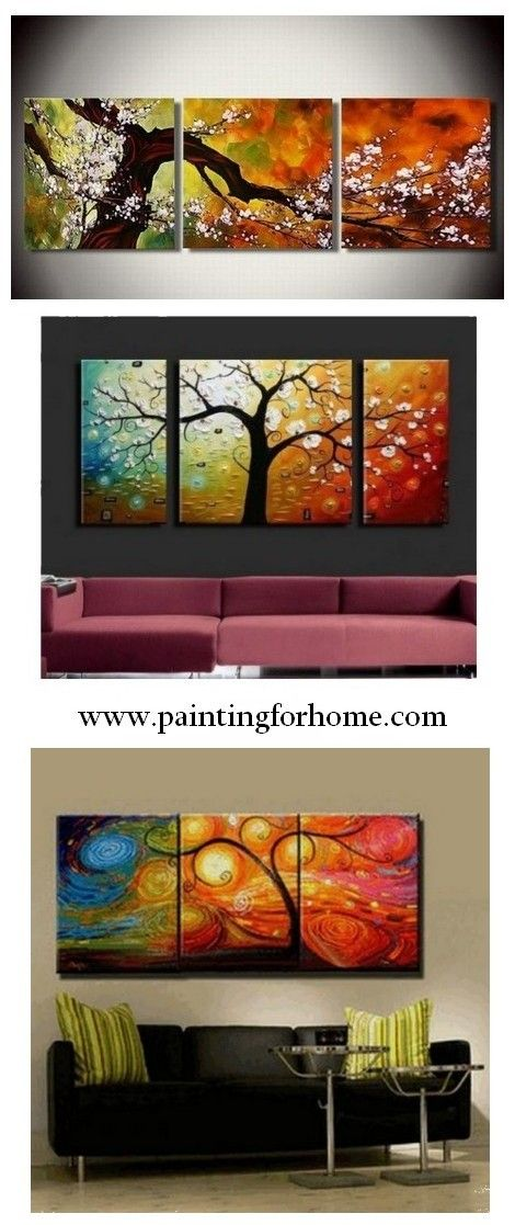 Abstract Art, Plum Tree in Full Bloom, Large Oil Painting, Living