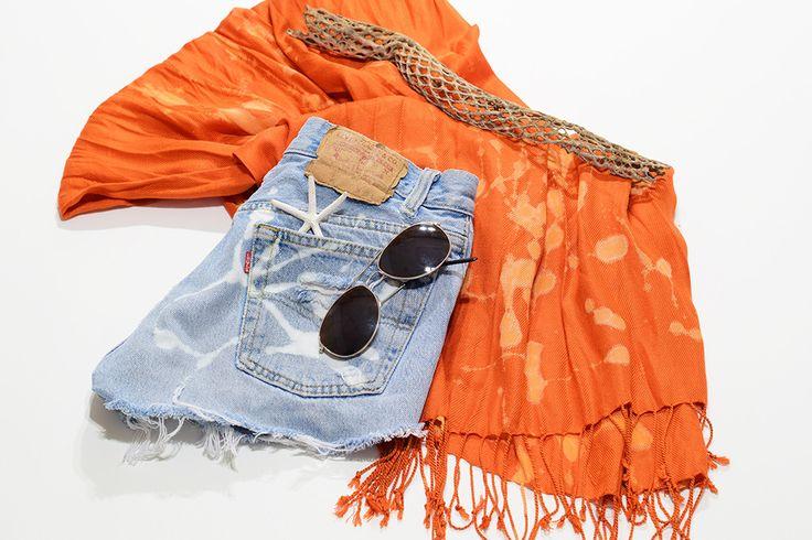 Vintage LEVI Bleached Denim Cutoff Shorts / Blue 1970s Distressed Highwaist High Cut Jean Shorts Size 28