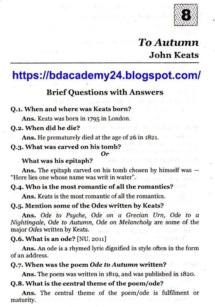 Brief Questions With Answers To Autumn John Keats With Images