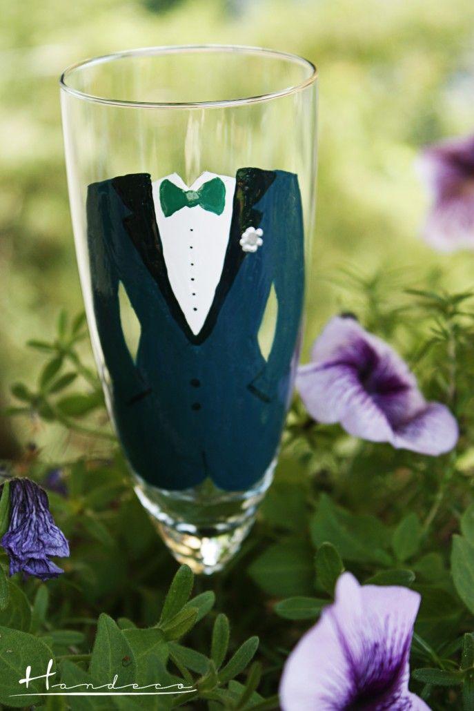 Pahare nunta pictate manual - Handeco