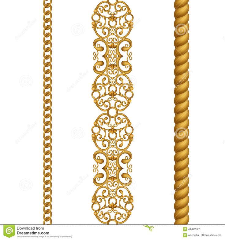 Clipart (images Graphiques) Sans Couture De Frontières De Dentelle à Chaînes Classique De Corde D'or, D'isolement Sur Le Fond Bla Illustration Stock - Image: 44442622