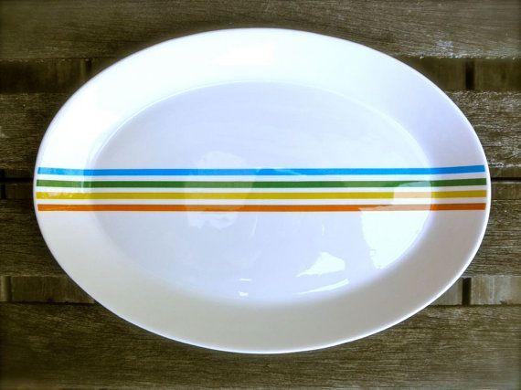 70s Stylized Rainbow Stripe Platter by Syracuse USA by JackpotJen, $25.00