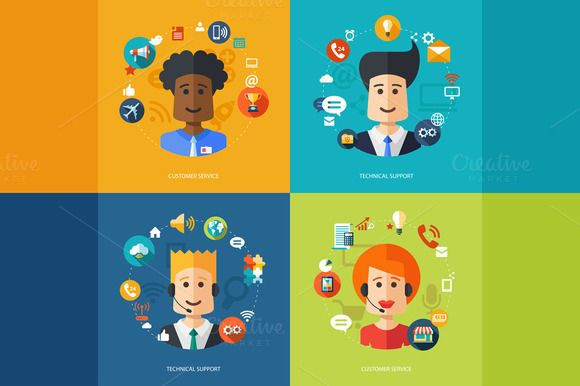 Flat Design Professions Avatars by Decorwith.me Shop on Creative Market