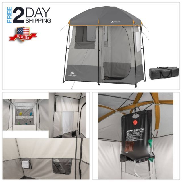 Shower Tent 2 Room 5 Gallon Solar Heated Shower Towel Rack By