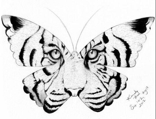 Tiger Butterfly Tattoo Design #tattoos