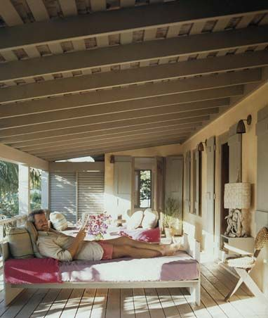 This veranda house is another lovely project from the talented Designer Tom Scheerer.. Eclectic in style this house has almost.a 60's vibe combined with a 2012 modern beach chic: Style, Beach Houses, Living Room, Back Porches, Deco Porches, Cozy Porch, Screened Porches