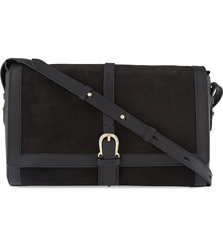 Buckle nubuck leather shoulder bag