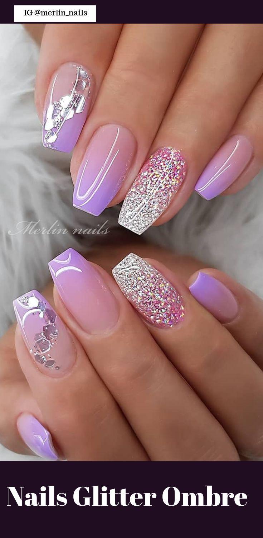 50 Pretty Nails Glitter Ombre Easy 2019 – #Easy #G…