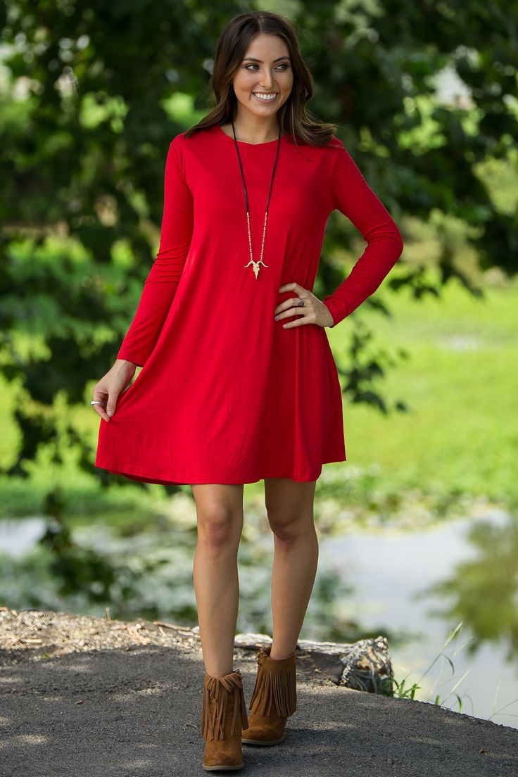 The Perfect Piko Long Sleeve Swing Dress-Red