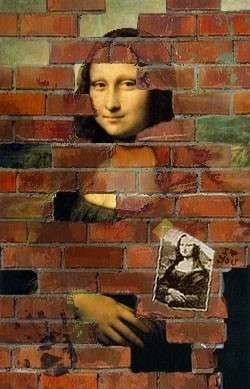 "Mona immured - Interesting... The actual 'Monna Lisa' has been ""immured"" in one way or another from the beginning."